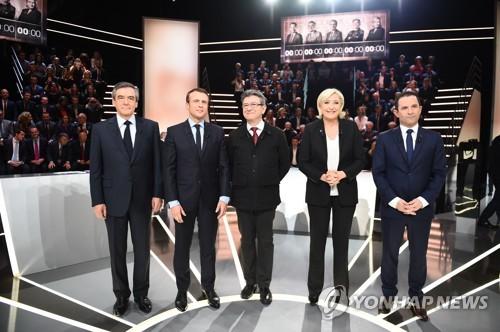 20일(현지시간) 첫 TV토론에 출연한 프랑스 대선후보들