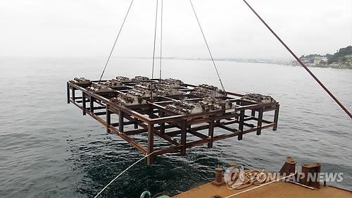바다에 투하되는 인공어초 [연합뉴스 자료사진]