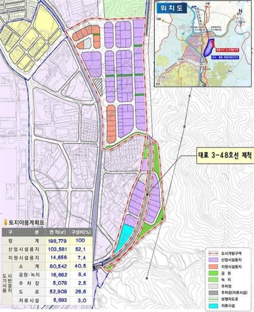 평촌지구 위치도 및 토지이용계획