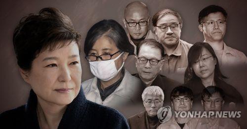 박근혜 전 대통령(왼쪽), 최순실씨(왼쪽 두번째)와 '최순실 게이트' 조연들
