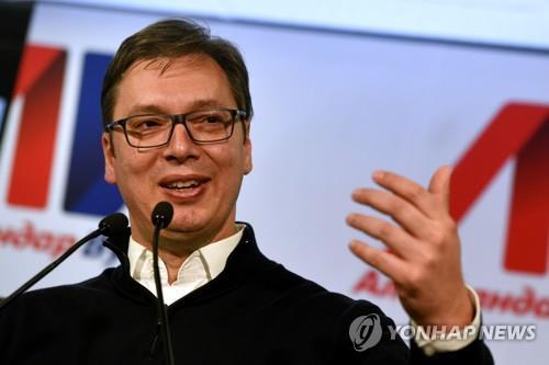 세르비아 새 대통령으로 당선된 알렉산다르 부치치 총리[AFP=연합뉴스]