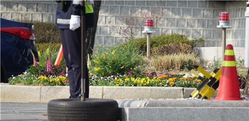 청와대 앞 도로 분수대 쪽 입구 화단/ 백승렬