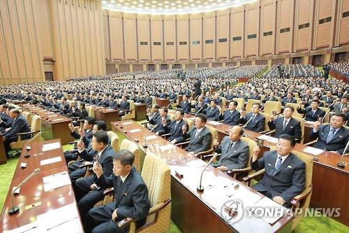 북한 최고인민회의 회의장 모습[연합뉴스 자료사진]