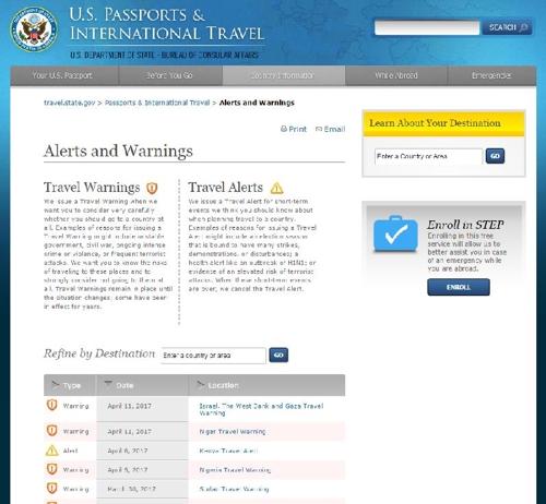미국 국무부 웹사이트중 여행경보 사이트.