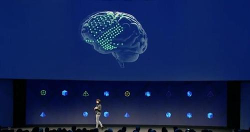 뇌-컴퓨터 인터페이스를 소개하는 페이스북 F8 [페이스북 제공]