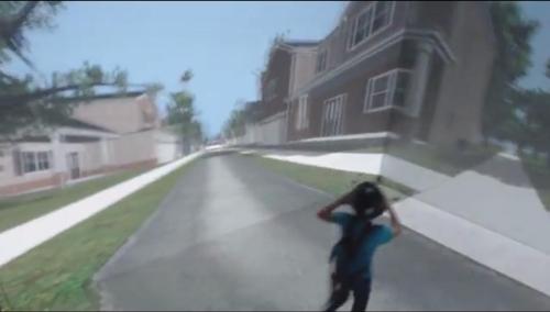 가상현실을 이용한 어린이 길건너기 실험 장면