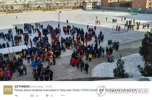 북한 핵실험 지진에 밖으로 대피한 북중 접경지역 학생들