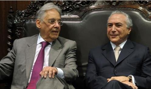 카르도주 전 대통령(왼쪽)과 테메르 대통령[브라질 뉴스포털 UOL]