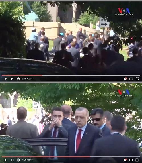 경호팀·시위대 충돌 지켜본 에르도안 대통령