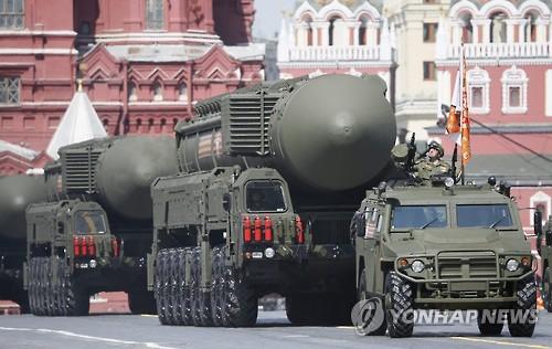 러시아 대독전승기념 행사에 참가한 ICBM '야르스'[EPA=연합뉴스 자료 사진]