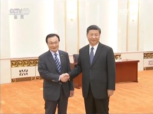 중국 CCTV에 보도된 시진핑 주석과 이해찬 특사 면담 장면. [CCTV 캡처]