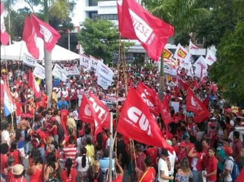 연금·노동 개혁 반대 시위에 나선 노동계
