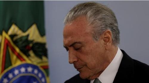 퇴진 압박을 받는 테메르 대통령[브라질 뉴스포털 UOL]