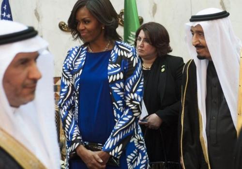 사우디 방문 당시의 미셸 오바마