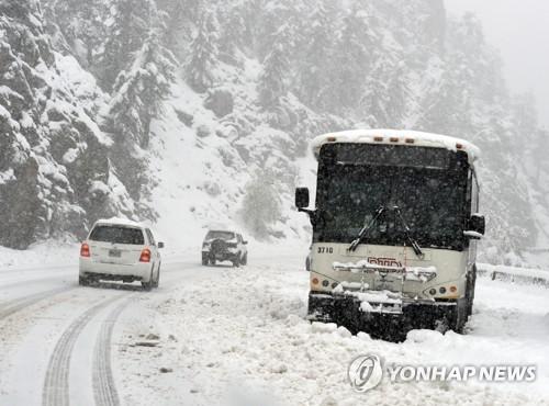 콜로라도 119번 고속도로에서 눈밭에 갇힌 버스