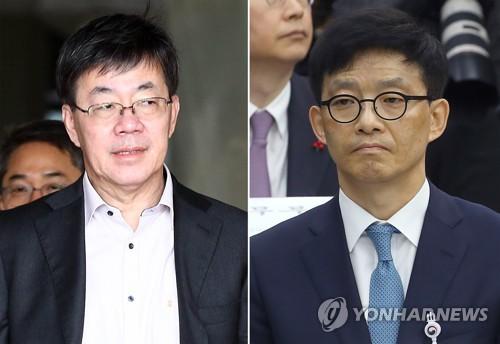 이영렬(왼쪽) 서울중앙지검장과 안태근 법무부 검찰국장 [연합뉴스 자료사진]