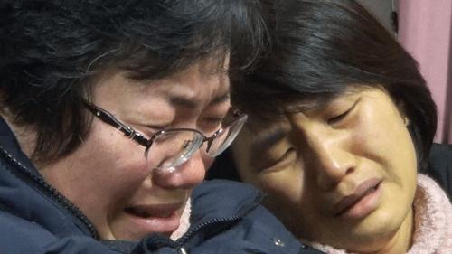 세월호 미수습자 어머니들의 눈물 [NHK 제공=연합뉴스]