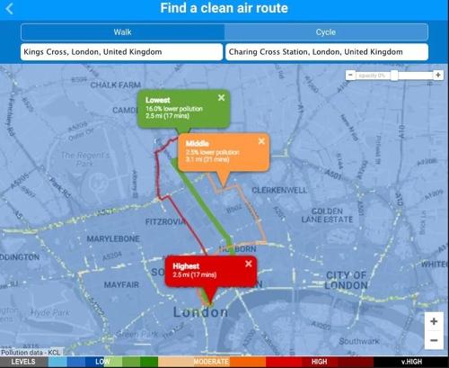 킹스칼리지 런던 대학 연구팀이 개발한 런던시내 청정 대기 걷기 코스 찾기 지도