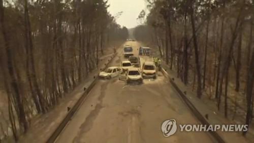 산불로 많은 사상자가 발생한 포르투갈 중부 IC8 고속도로 [AP=연합뉴스]