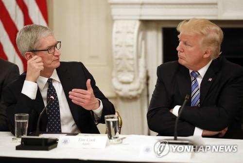 2차 테크 서밋에서 대화를 나누는 트럼프 대통령(오른쪽)과 쿡 CEO [AP=연합뉴스]