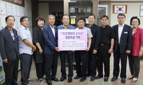 평화의 소녀상 건립 성금 전달하는 보은군청 공무원들 [보은군 제공=연합뉴스]