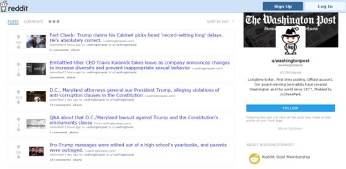 미국 인터넷 커뮤니티 사이트 '레딧'에 개설된 워싱턴포스트 페이지