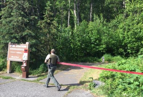 곰이 나타나 통제된 산악 레이스 코스