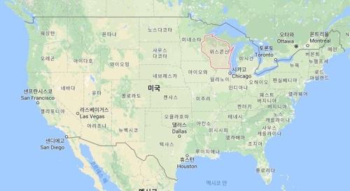 미국 위스콘신 주[구글맵 캡처]