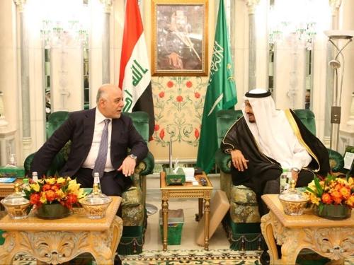 알아바디 이라크 총리(좌)와 살만 사우디 국왕[이라크 총리실]