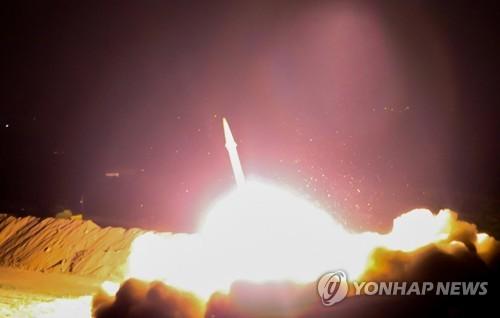 18일 이란 혁명수비대의 미사일 발사 장면[EPA=연합뉴스자료사진]