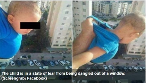 창문 밖에 매달린 아기의 페이스북 사진 [알아라비야 화면 캡처]