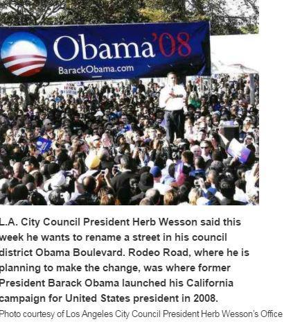 LA에 '오바마 도로' 생긴다…2008년 유세 시작했던 길