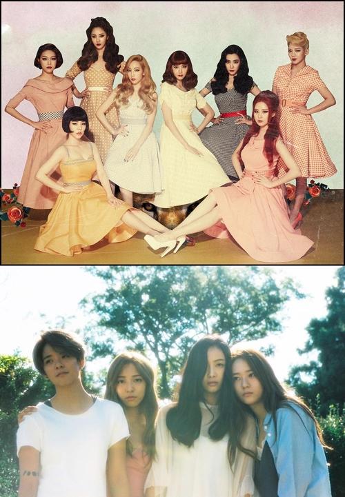소녀시대와 에프엑스(아래)