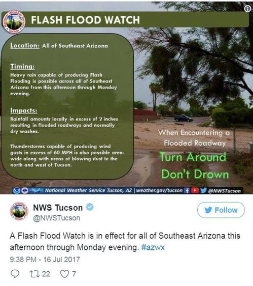 애리조나 주 투산 기상당국의 홍수 경보