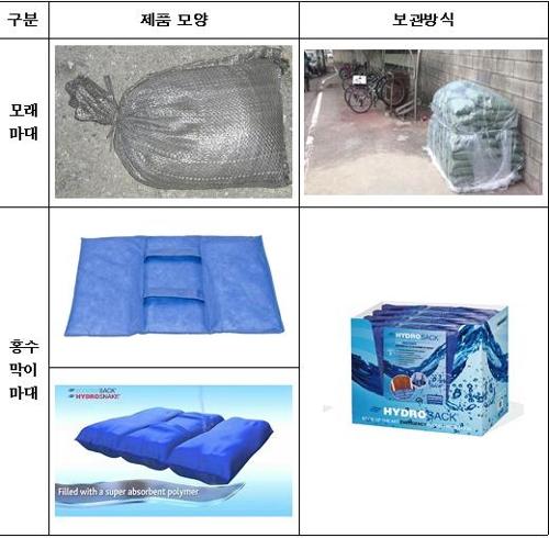 기존 모래마대와 홍수막이 마대 비교 [서울시 제공=연합뉴스]