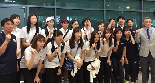 귀국한 여자배구 국가대표팀