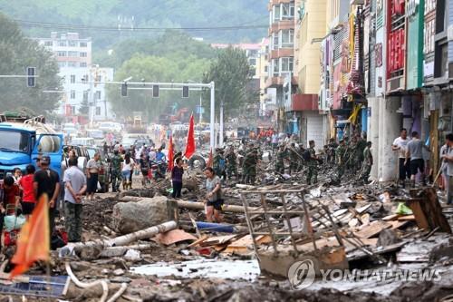 수해로 폐허가 된 지린시 도심[AFP=연합뉴스]