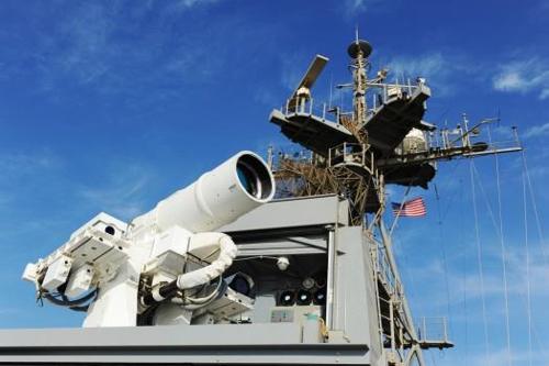 USS폰스에 배치된 레이저무기체계(LaWS)