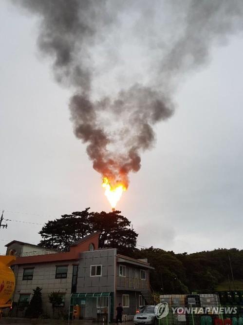 한화토탈 공장 굴뚝에서 치솟는 불길