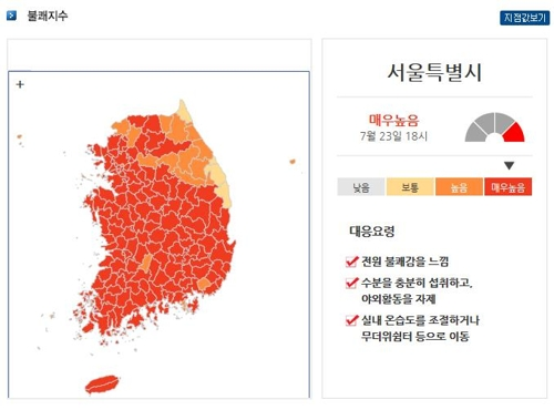 23일 서울지역 불쾌지수