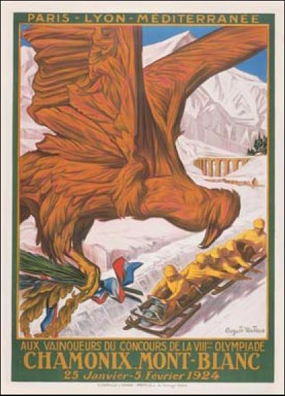 첫 동계올림픽인 1924년 샤모니대회 포스터