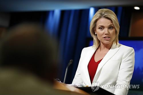브리핑하는 헤더 노어트 미 국무부 대변인 자료사진