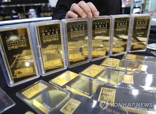 한국금거래소에서 판매 중인 골드바 [연합뉴스 자료사진]