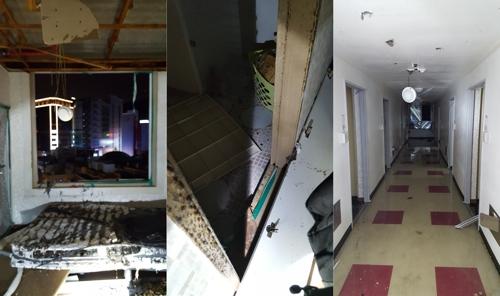 폭발 탓에 아수라장이 된 오피스텔 내부