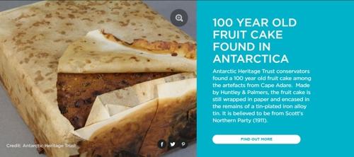 남극 가장 오래된 오두막서 100년전 과일 케이크 발견
