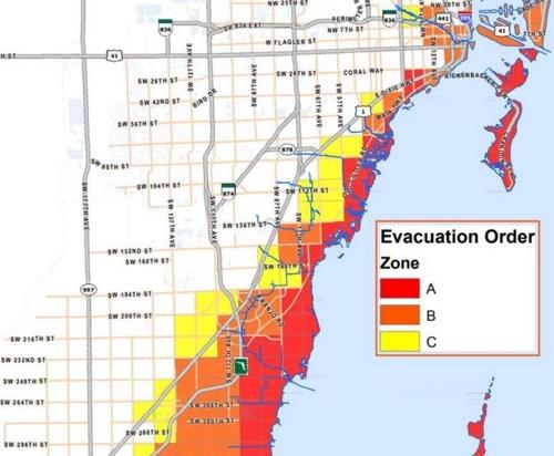 마이애미 주민 대피령 내려진 지역