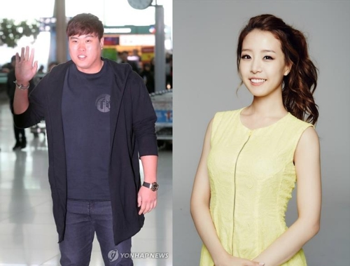 류현진(왼쪽)과 배지현