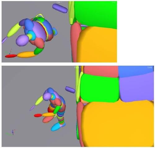 컴퓨터 시뮬레이션으로 사고 과정을 재구성한 모습