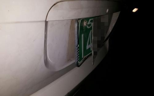 훔친 번호판을 차량에 부착한 모습. [전북경찰청 제공=연합뉴스]