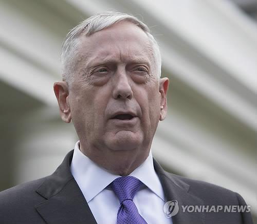 북한에 강력한 대응 의지를 밝히는 매티스 미국 국방장관[EPA=연합뉴스 자료 사진]